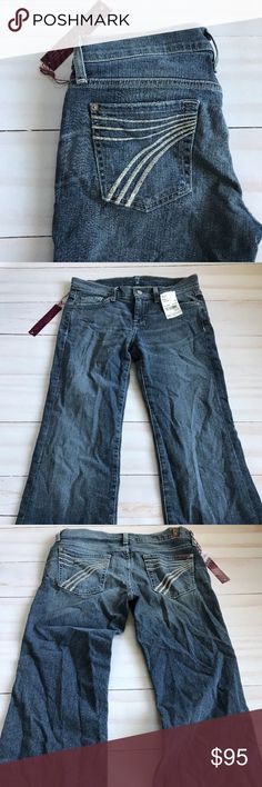 """7 For All Mankind Women's Jeans Size 26 Dojo Nolit New with tags 7 For All Mankind Dojo jeans the color is Nolita. The rise is 8"""" and the inseam 31"""". The waist laying flat is 14"""".  Please note the tag fell off when photographing. 7 for all Mankind Jeans Flare & Wide Leg"""