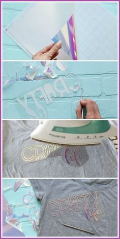 How to use holographic heat transfer vinyl Bee Crafts, Vinyl Crafts, Vinyl Projects, Crafts To Make, Craft Projects, Mason Jar Diy, Mason Jar Crafts, Tissue Paper Crafts, Budget Crafts
