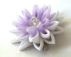 Purple Lotus Hair Flower Kanzashi Water Lily by ScarlettandMaria
