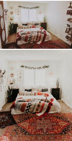 45 creative boho bedroom decor ideas you can diy 11 ⋆ All About Home Decor Bedroom Vintage, Vintage Bedding Set, Cute Bedroom Ideas, Bright Bedroom Ideas, Colourful Bedroom, Bohemian Style Bedrooms, Bohemian Decor, Bohemian Living, Boho Style