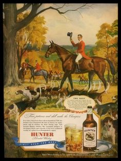 1946 Hunter Whisky Fox Hunt Foxhunt Foxhound Hound Pack Art Vintage