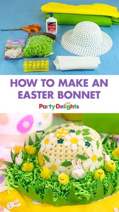 Find out how to make an Easter bonnet with simple craft supplies! A fun Easter activity for kids. Go to full content Easter Activities For Kids, Easter Crafts For Kids, Baby Activities, Easter Ideas, Easter Play, Bunny Crafts, Easter Gift, Easter Decor, Happy Easter