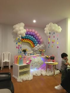 Ideas For Baby Shower Decoracion Arcoiris Spongebob Birthday Party, Unicorn Themed Birthday Party, 1st Birthday Party For Girls, Rainbow Birthday Party, Birthday Party Themes, Rainbow Parties, Rainbow Theme, Rainbow Balloon Arch, Birthday Ideas