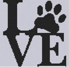 Punto De Cruz Love Paw Cross Stitch Pattern - Love Paw Cross Stitch Pattern Size on 14 count roughly X Includes Cross Stitch Tips Cross Stitch Heart, Cross Stitch Animals, Modern Cross Stitch, Counted Cross Stitch Patterns, Cross Stitch Designs, Cross Stitch Embroidery, Embroidery Patterns, Hand Embroidery, Tapestry Crochet