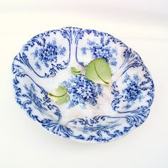 Antique+Blue+White+Bowl+Flow+Blue+Pottery+Serving+by+WhimzyThyme,+$68.95