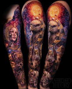 Tattoo done by Javier Antunez (me) of Tattooed Theory, Miami FL Egyptian Tattoo Sleeve, Leg Sleeve Tattoo, Best Sleeve Tattoos, Tattoo Sleeve Designs, Leg Tattoos, Body Art Tattoos, Tattoos For Guys, Horus Tattoo, Anubis Tattoo