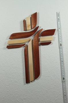 """Handcrafted in my woodworking shop. 12"""" x 17"""" ( 30 x 40 cm) Maple/Mahogany Crosses make a great wedding, birthday or Christmas gift for those hard-to-buy-for people. $60.00."""