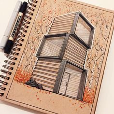 It's starting to feel like fall in NYC! by reidschlegel Architecture Concept Drawings, Architecture Sketchbook, Interior Architecture, Schematic Design, Industrial Design Sketch, Facade Design, Architect Design, Bauhaus, Designs To Draw