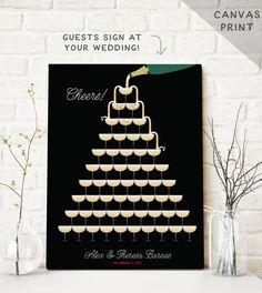 Champagne Guest Book Alternative  Art Deco by MissDesignBerryInc