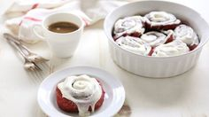 Any recipe that starts with Betty Crocker's™ red velvet cake mix is a favorite of ours. These festive cinnamon rolls are no exception!