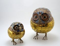 Vintage 1950's Brass Pottery OWL FIGURINES, TONALA Mexico, Mid Century, Handmade and Signed By Artist Blazquez Mexico