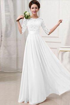 Fashion O Neck Half Sleeve Waist White Ankle Length Dress on Luulla