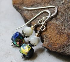 Sodalite & Mother of Pearl Sterling Earrings |  Gemstone Earrings | Handcrafted Unique Jewelry | Gifts for Women | Blue and White Earrings by JensFancy on Etsy