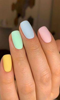 Acrylic Nails Pastel, Best Acrylic Nails, Summer Acrylic Nails, Spring Nails, Pastel Color Nails, One Color Nails, Cute Nail Colors, Neon Nail Art, Different Color Nails