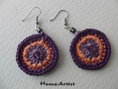 Crochet Mandala Earring with hematite beads