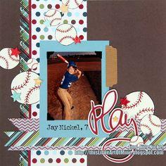 Little Sport Baseball Page...with paper scraps & baseball embelllishments.