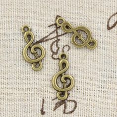 99 Cents 12 PCS Charms Musical Lưu ý 23mm Antique làm Pendant Fit, vintage Tây Tạng Bronze, vòng đeo tay DIY vòng cổ