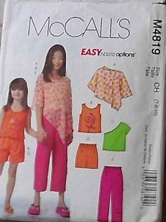 McCall/'s 4819 Tween Girls/' Poncho Tops Shorts and Capri Pants  Sewing Pattern