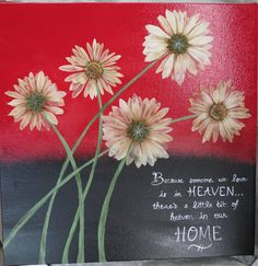 Pressed flowers from a friend's funeral added to a painted canvas make for a great way to preserve your memories