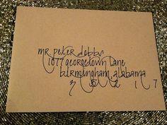 Wedding Invitation Envelope Addressed with Calligraphy - Pretty Calligraphy. $0.95, via Etsy.