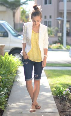 I like this look and the length of the shorts-just not distressed jeans. Lighter fabric for summer.