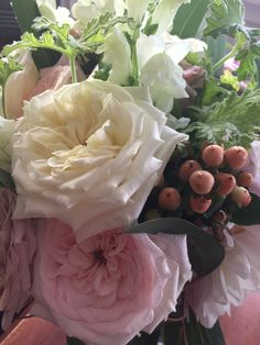 Up close & personal withe theses guys , cottage roses , hypericum & lemon scented geranium from mwah garden .