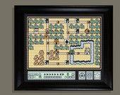 Mario world 1-grassland  cross stitch pattern PDF