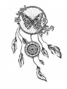 Dream catcher tattoo template with roses and butterfly - Tattoo-Ideen Dream Tattoos, Future Tattoos, Love Tattoos, Beautiful Tattoos, Body Art Tattoos, New Tattoos, Tattoo Drawings, Tattoos For Women, Tatoos