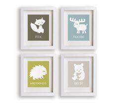 Great Outdoors - Set of 5x7 Woodland Animal Prints - Nursery Decor, Educational, Nursery Art, Children's Art, Fox, Moose, Hedgehog, Bear via Etsy