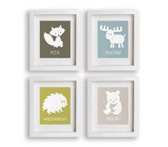 Great Outdoors - Set of 5x7 Woodland Animal Prints - Nursery Decor, Educational, Nursery Art, Children's Art, Fox, Moose, Hedgehog, Bear via Etsy