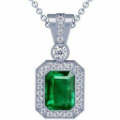 Platinum Emerald Cut Emerald And Round Diamond Pendant GemsNY. $8335.00. Save 50% Off!