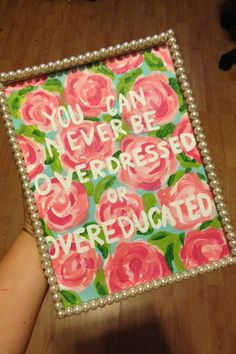 Lilly Pulitzer inspired painting with Quote in pearl frame
