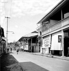 Cotabato City, street in front of hotel, Maguindanao Province, Mindanao, Philippines, August 29, 1933