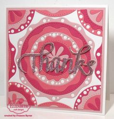 This retro style card by Frances Byrne is perfectly pink! Frances uses  Els van de Burgt Studio's Fitted Frames 5 Lace Circles, and Thanks by A Way with Words to create this gem.  Learn more about this project here: http://stampowl.blogspot.com/2016/01/thanks.html