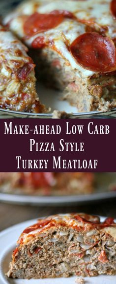 Make-ahead Low Carb Pizza Style Turkey Meatloaf Recipe. Meal prep recipe for weight loss