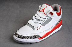 Air Jordan 3 Retro White/Red/Grey Women's _004