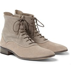 Maison Martin MargielaSuede and Canvas Boots