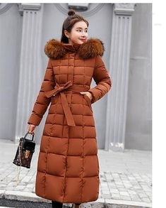 d2d4c4c79a9 Isiksus Padded Warm Down Jackets Womens Winter Plus Size Long Quilted Black  Hooded Fur Coat Jacket
