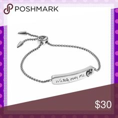 """🆕""""WATCH OVER ME"""" Lariat Bracelet🆕 🎄🆕🎄BEAUTIFUL, SENTIMENTAL """"WATCH OVER ME"""" Lariat Stainless Steel Bracelet. Beautiful sentimental saying with Angel, precious gift for someone special or for yourself. Only ONE available. Adjustable to fit most size wrists.🎄🆕🎄PRICE IS FIRM🎄 Boutique Jewelry Bracelets"""