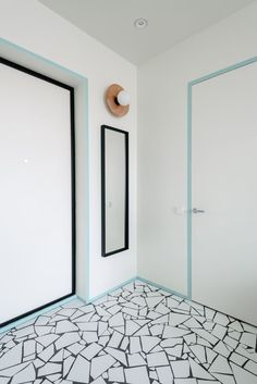 Copenhagen Spirit,© Luciano Spinelli. White tiled mosaic flooring and coloured door trim