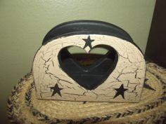 Primitive Crackle Wood Napkin Holder ~ Black Stars ~ Country Decor