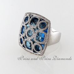 Centre stone is a square cut blue topaz with round brilliant cut diamonds pavé set in a fancy pattern over the centre stone set in white gold Blue Topaz Diamond, Dress Rings, Centre, Gemstone Rings, Diamonds, White Gold, Fancy, Pattern, Jewelry
