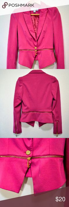 HOT! Pink & Gold Forever Blazer 100% Non Smoking, No Pet Home.  Feel free to like, follow, and share. Open to offers. Thanks for the love! :)  Blazer // Multiwear // Business /Professional // gold Closures & Zipper // Detachable Bottem // Worn a Couple Times // No Winkle // Fits 00, 0, 2 Women // Like new Forever 21 Jackets & Coats Blazers
