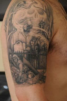 1000 ideas about graveyard tattoo on pinterest archangel michael tattoo zombie tattoos and. Black Bedroom Furniture Sets. Home Design Ideas