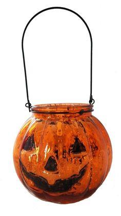 5.5 Inch Orange Mercury Glass Jack O'lantern Pumpkin Halloween Candle Holder