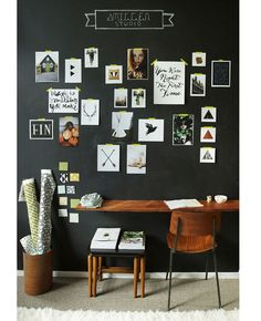 Chalkboard Inspiration Wall behind the desk for budding ideas & design concepts. I would add some cork tiles for fabric & scrap pinnings ~xo
