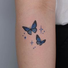 Butterfly Tattoos For Women, Tiny Tattoos For Girls, Butterfly Tattoo Designs, Little Tattoos, Tattoo Designs For Women, Mini Tattoos, Blue Butterfly Tattoo, Dainty Tattoos, Dope Tattoos