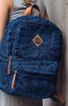 Crochet back pack. What a fun idea!