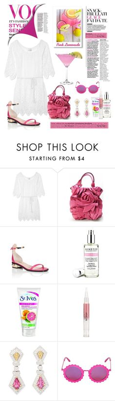 """""""Pink Lemonade"""" by conch-lady ❤ liked on Polyvore featuring Miguelina, Ivanka Trump, Valentino, Demeter Fragrance Library, Stila and House of Holland"""