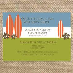 Surfer Birthday/Baby Shower Invitation 5x7 by uluckygirl on Etsy, $1.75